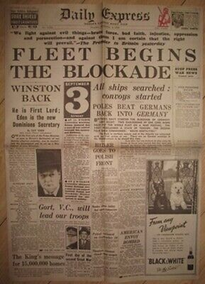 1939 Newspaper Britain Declares World War II on Germany I Winston Chuchill Retro