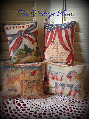 New~~Set of 4 Primitive Americana Flag July 4th Bowl Fillers Ornies Vintage Hare