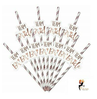 12 x TEAM BRIDE PAPER STRAWS Hen Party Rose Gold Bride to Be Party Decor PACK