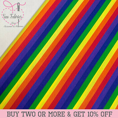 Rainbow Pride Striped Polycotton Fabric Multicoloured Stripe Material