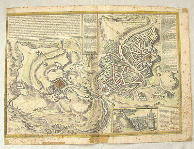 "Antique hand colored map of Jerusalem ""Civitates Orbis Terrarum"" 1575"