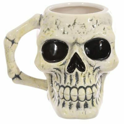 Ancient Skull & Bone Novelty Halloween 3D Gothic Coffee Mug Cup New In Gift Box