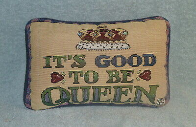 2 x Mary Engelbreit Tapestry Pillows - 2000 Years & Good To Be Queen Lot Of 2
