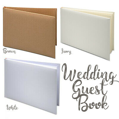 Wedding Guest Book, White, Ivory or Brown