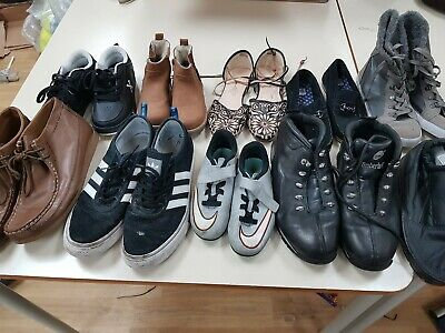 bundle of mens womens kids bradded and mixed shoes 15kg