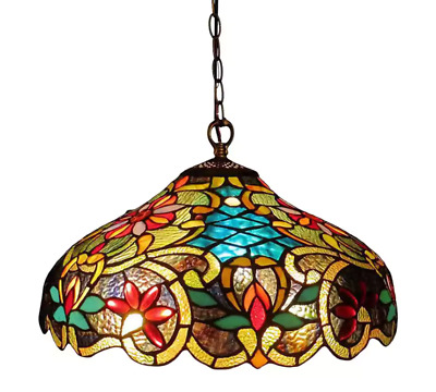 Tiffany Hanging Light Lamp Ceiling Chandelier Pendant Stained Glass Fixture New