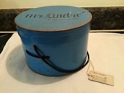 Vintage Mr. Andre' Exclusive Hat Box (Empty) Blue Millinery