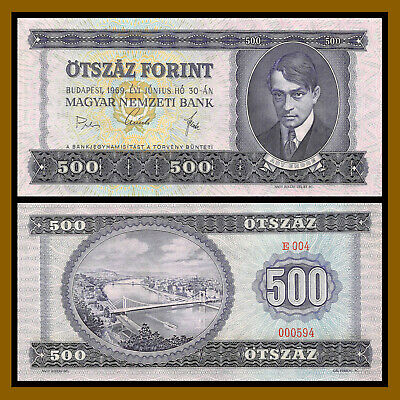 Hungary 500 Forint, 1969 P-172a (3 Digit S/N 000594) Unc