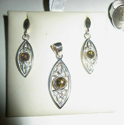 Irish Celtic Knot Necklace Earrings Sterling Silver Baltic Amber Pendant Set 925