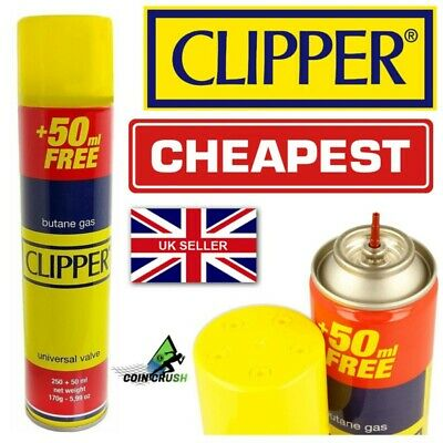 2 X Clipper Universal High Quality Butane Gas Lighter Refill Fluid 300ml Fuel
