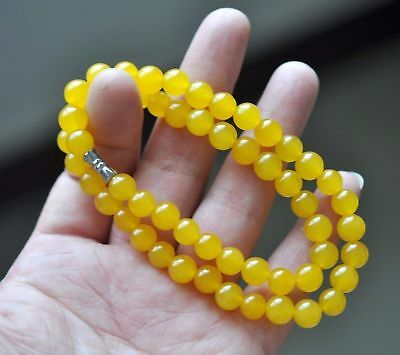 Beautiful Chinese Handcraft 100% Natural Jade Yellow Jade Necklaces