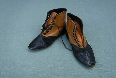 """Antique Childs Leather Boots Shoes Pointed Toes Dolls 4 3/4"""" stamped 1834"""