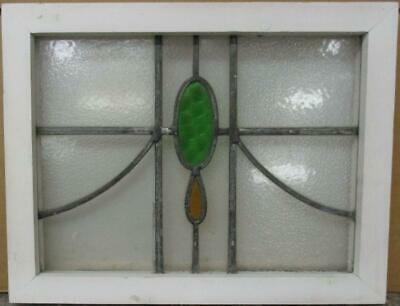 "OLD ENGLISH LEADED STAINED GLASS WINDOW Simple Geometric Sweep 18.5"" x 14.5"""