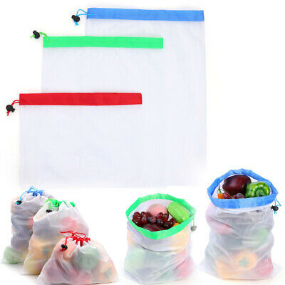 15Pcs Reusable Mesh Produce Bag Grocery Fruit Vegetable Storage Shopping Bag