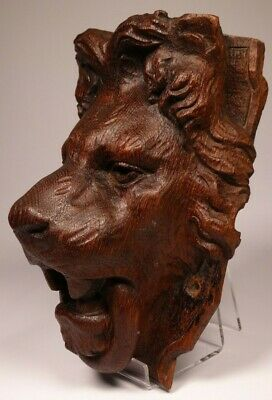 Antique 19Th Century Carved Wood Lion Mask - Wall Mounted Lion Head