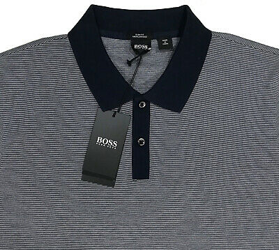 ba1012e7e Men s BOSS HUGO BOSS Blue Striped Mercerized Polo Shirt XL NEW NWT Slim Fit  WoW!