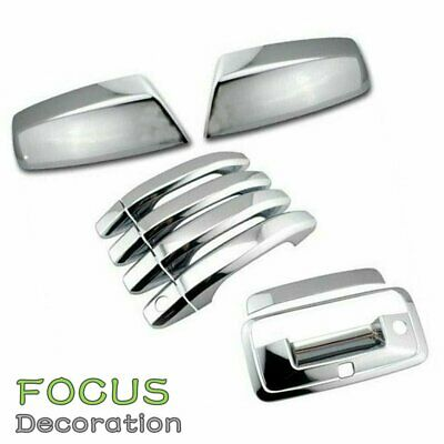 14-15 Sierra 1500 Crew Cab Chrome Mirror+4 Door Handle+Tailgate KH+Window Visor
