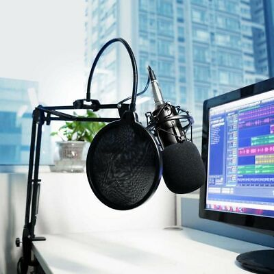 Double Layer Microphone Studio Mic Wind Screen Pop Filter Mask Shied Flexible US