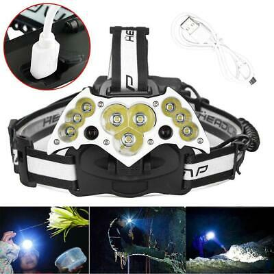 200000LM 11LED USB Rechargeable Headlamp Head Torch Camping Hiking Headlight
