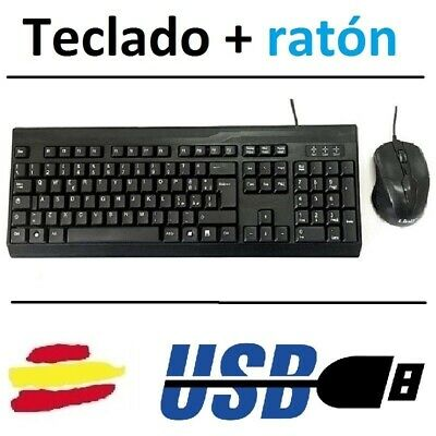 Teclado Y Raton Usb Negro Para Pc Windows Torre Mac Smart Tv Wired Dpi Game Slim
