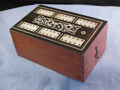 Wooden & Pearl Victorian Antique Travelling Crib Cribbage Board Card Games Box
