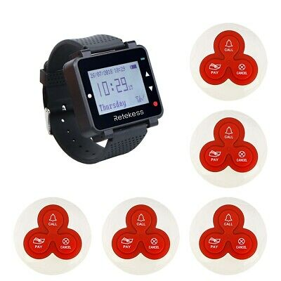 Wireless Waiter Calling System Watch Receiver 999CH+5x Call Button Pagers 433MHz