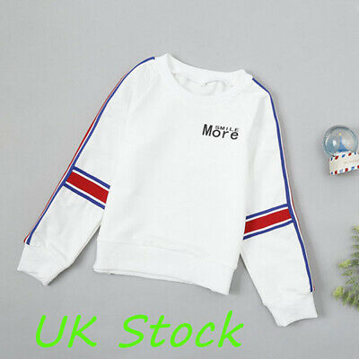 Kids Boys Girls Long Sleeves Casual Shirts Toddler Sport Jumper Pullover Tops UK