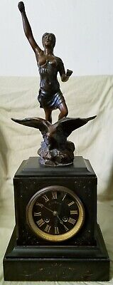 Antique Carved Figural Woman On Eagle French Marble Mantle Clock W/Key * Works