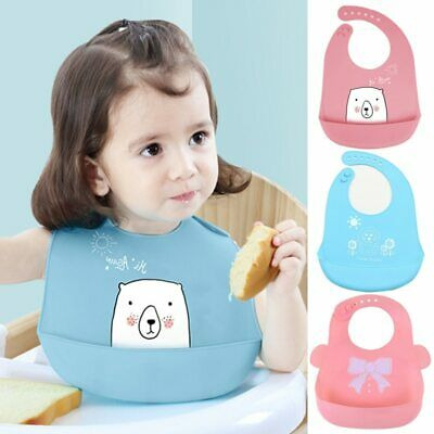 Cartoon Kids Silicone Baby Bibs Adjustable Waterproof  Feeding Stuff Burp Cloth
