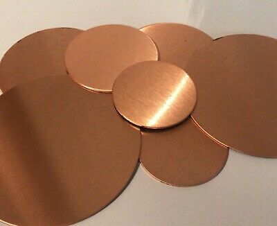 Solid brushed Copper Metal Discs Tags 0.9mm 43mm 50mm 60mm 80mm HOLES & PRINTED