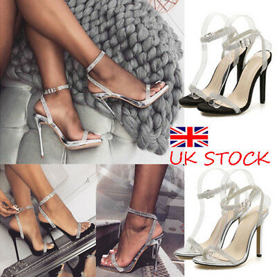 Uk Womens Sequin Stiletto High Heels Ladies Ankle Strappy Sandals Open Toe Shoes