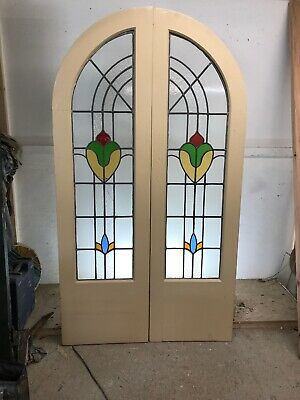 Art Deco Stained Glass Doors Antique Period Reclaimed Old French Wood Arched