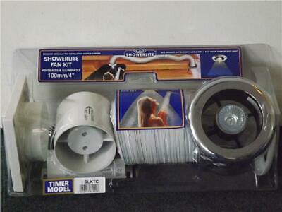 "Bathroom Extractor Shower light Fan Kit 4"" Chrome/white +Timer NEW Manrose SLKTC"