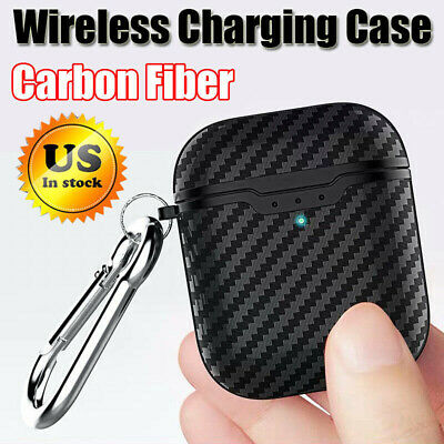 For Apple AirPods 2 Charging Case Carbon Fiber Pattern Rugged Cover +Key Ring Sd