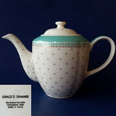 Grace's Teaware 4-Cup Porcelain Teapot. Teal & White w/ Gray Polka-Dots & Gold