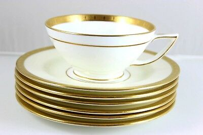 5 Sets Gilt Minton China H3618 Footed Cups Saucers Raised Gold Encrusted Cream