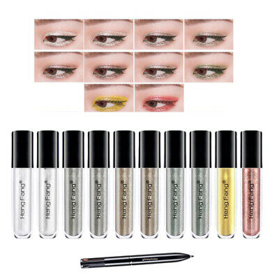 Glitter Liquid Eyeliner 10 Colors Metallic Shimmer Eyeshadow w/ Eyebrow Pen