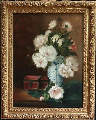 19th CENTURY LARGE FRENCH OIL ON CANVAS - FLOWERS IN VASE - BEAUTIFUL