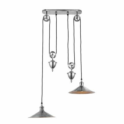 Rise and Fall Ceiling Light Twin Fitting Modern Pendant Brass Antique Silver