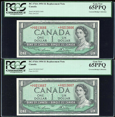 Lot of 2 Consecutive 1954 Bank of Canada $1 Replacement *X/F - PCGS Gem 65PPQ
