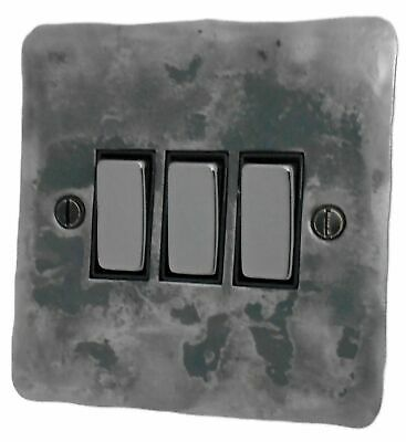 G&H FR303 Flat Plate Rustic Silver 3 Gang 1 or 2 Way Rocker Light Switch