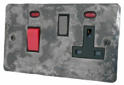 G&H FR329 Flat Plate Rustic Silver 45 Amp DP Cooker Switch & 13A Switched Socket