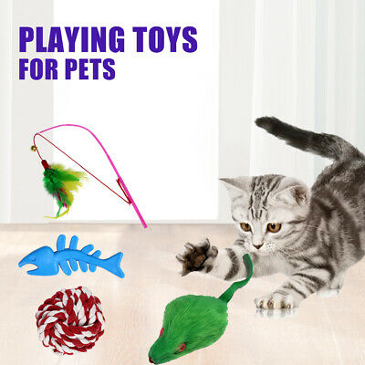 Cats Toys Kitten Catnip Toys Interactive Feather Teaser Mouse Rope Ball S2P0