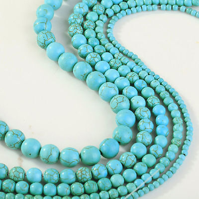 AAA  Blue Turquoise Gemstone Round Loose Bead Beads 4mm-10mm  YL