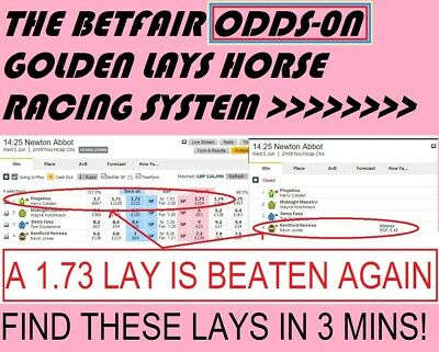 The Betfair Odds-On Golden Lays Horse Racing System. Huge favs beaten daily!