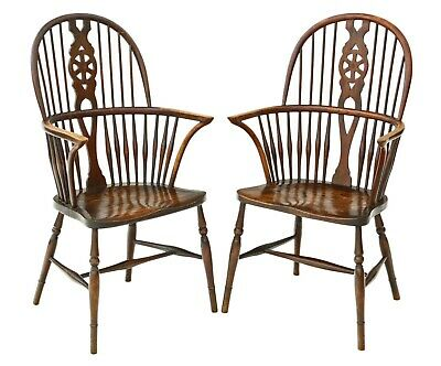 Antique quality pair of Trevor Page C1920 ash & elm Windsor chairs armchairs