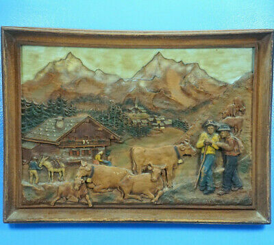 Antique Swiss Black Forest Carving WALL PLAQUE Diorama Relief Chalet Cow Signed?