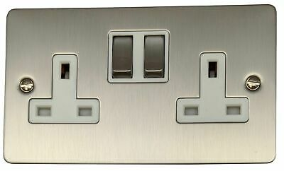 G&H FSS210 Flat Plate Brushed Steel 2 Gang Double 13A Switched Plug Socket