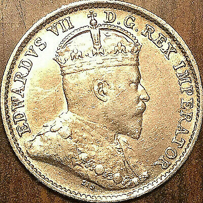 1910 CANADA SILVER 5 CENTS SILVER COIN - Pointed leaves - Fantastic example!