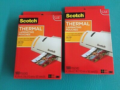 """2 Packs of  Scotch 3M Thermal Laminating Pouches 4"""" X 6"""" 200 Pieces TP5900"""